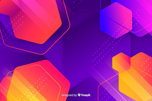 Variety of hexagons colourful background