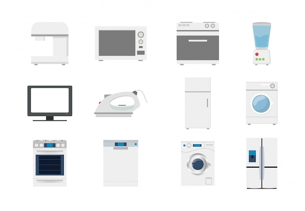 Variety home appliances icon set pack