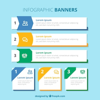 Variety of infographic banners with different designs and colors