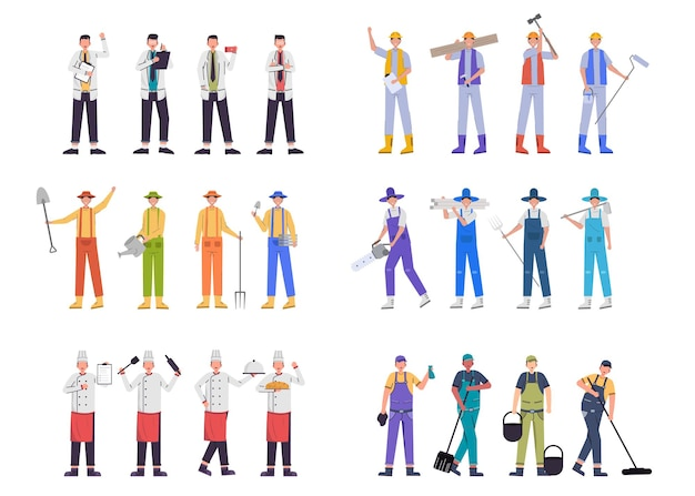 A variety of job bundles for hosting illustration work such as doctor, farmer, chef, construction worker, cleaning staff, character sets, 24 poses bundle