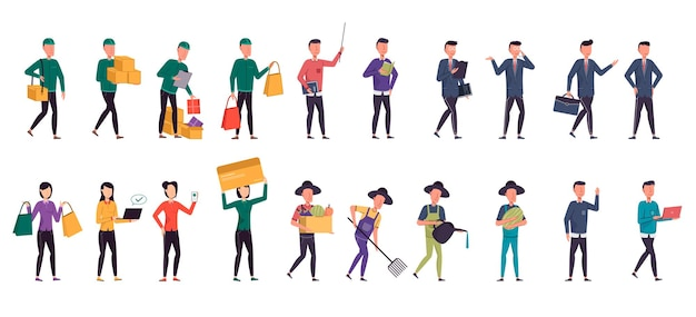 A variety of job bundles for hosting illustration work such as farmer, operator, businessman, shopper, delivery, office staff