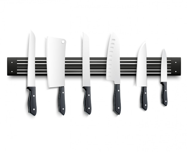 Variety of kitchen knives with black handle on magnetic strip on white background 3d vector illustration