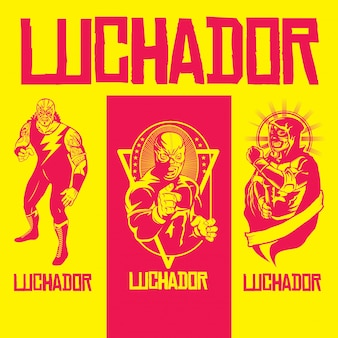 Variety of luchadores heroes