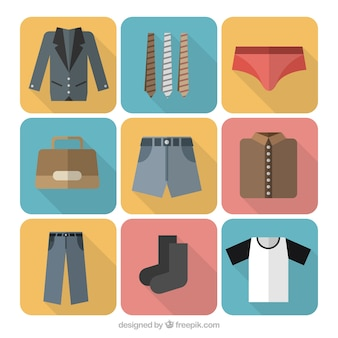 Variety of men's clothing icons