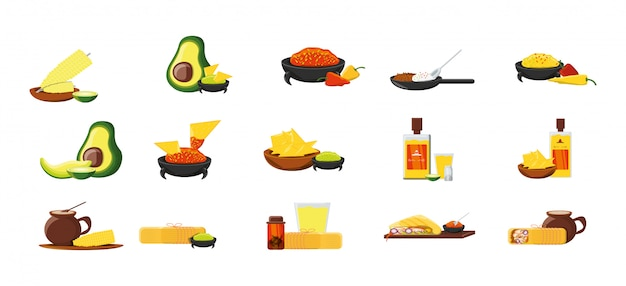 Variety mexican food icon set pack