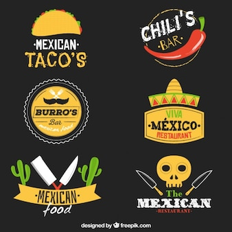 Variety of mexican food logos