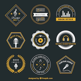 Variety of music badges