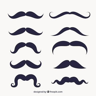 Variety of mustaches in flat design