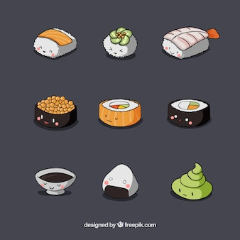 Variety of nice sushi pieces
