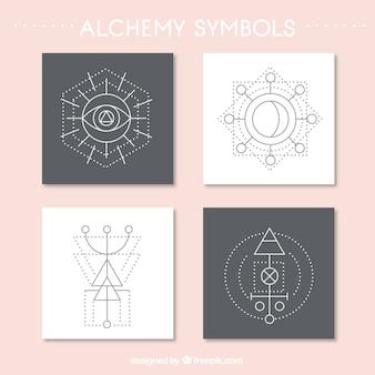 抽象的な錬金術シンボルカードの様々な