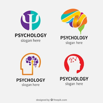 Variety of abstract psychology logos