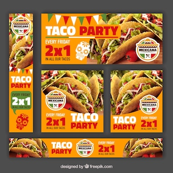Variety of banners for offer mexican restaurant