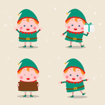さまざまなクリスマスエルフの姿勢コレクション