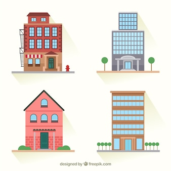 Variety of city buildings