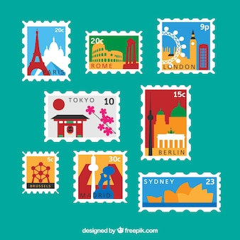 Различные почтовые марки городов