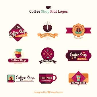 Разнообразие кофеен плоских логотипов Premium векторы