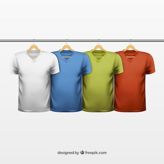 Variety of colored t shirts