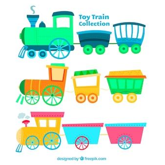 Разнообразие цветных игрушечных поездах в рисованном стиле