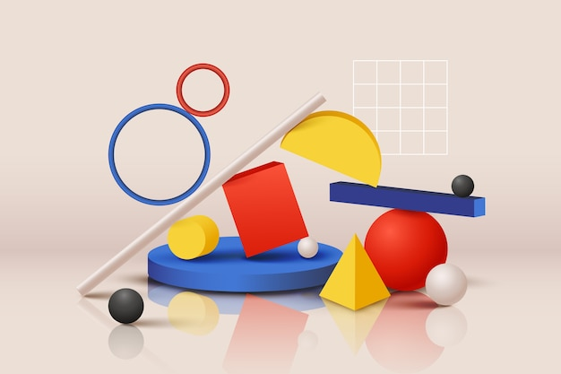 Разнообразие красочных геометрических фигур