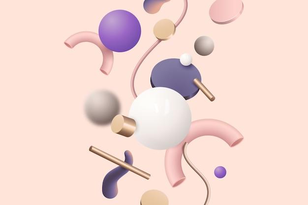 Разнообразие красочных геометрических фигур на розовом фоне
