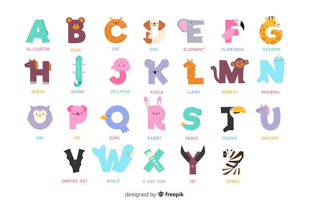 알파벳을 형성하는 귀여운 동물의 다양한