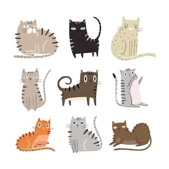 다양한 귀여운 고양이 일러스트