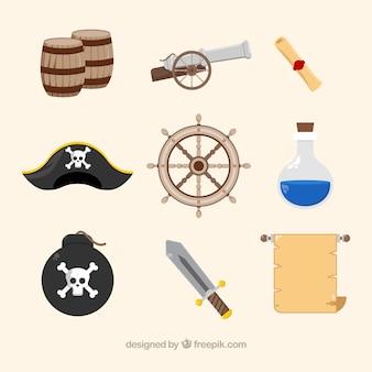 다양한 환상적인 해적 아이템