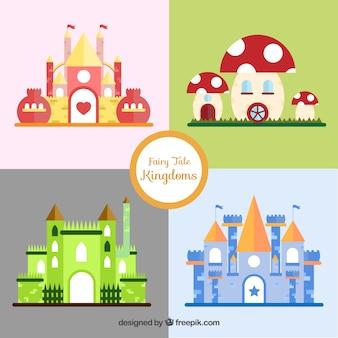 平らなおとぎ話の城の様々な