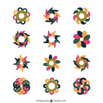 抽象的なスタイルで花のロゴの様々な