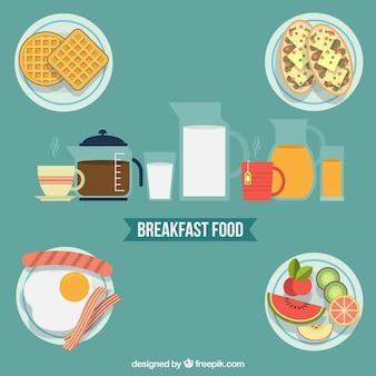 フラットなデザインの朝食用食品のバラエティ