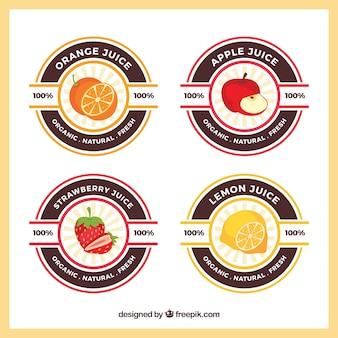 Различные этикетки с фруктовым соком в плоском дизайне