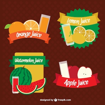 Разнообразие фруктовых соков этикетки