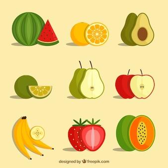 Разнообразие фруктов в плоском дизайне