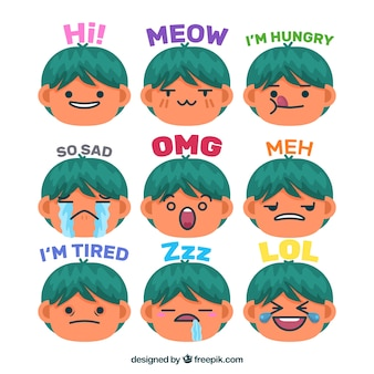 Variety of funny boy stickers