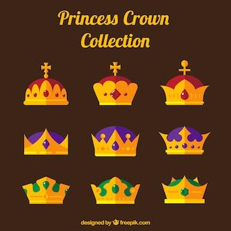 Разнообразие золотых коронок принцессы