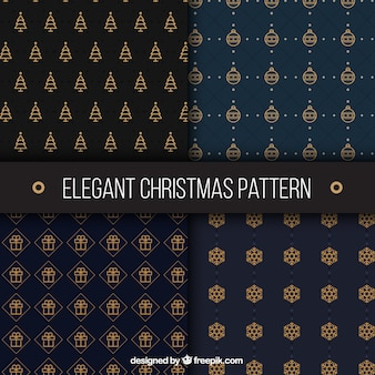 Variety of golden christmas stylish patterns