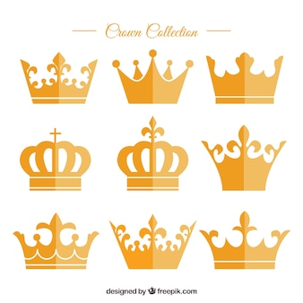 Variety of golden crowns in flat design