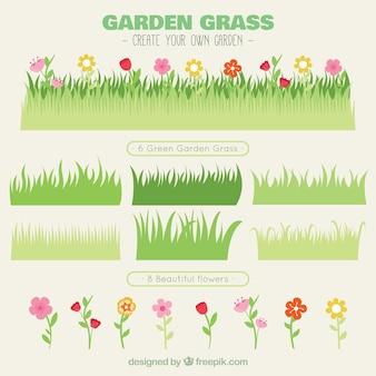 Разнообразие травы с цветами
