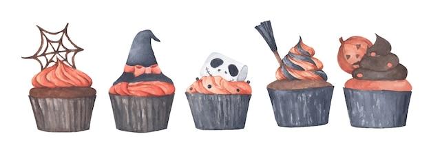 다양한 할로윈 컵 케이크. 수채화 그림.