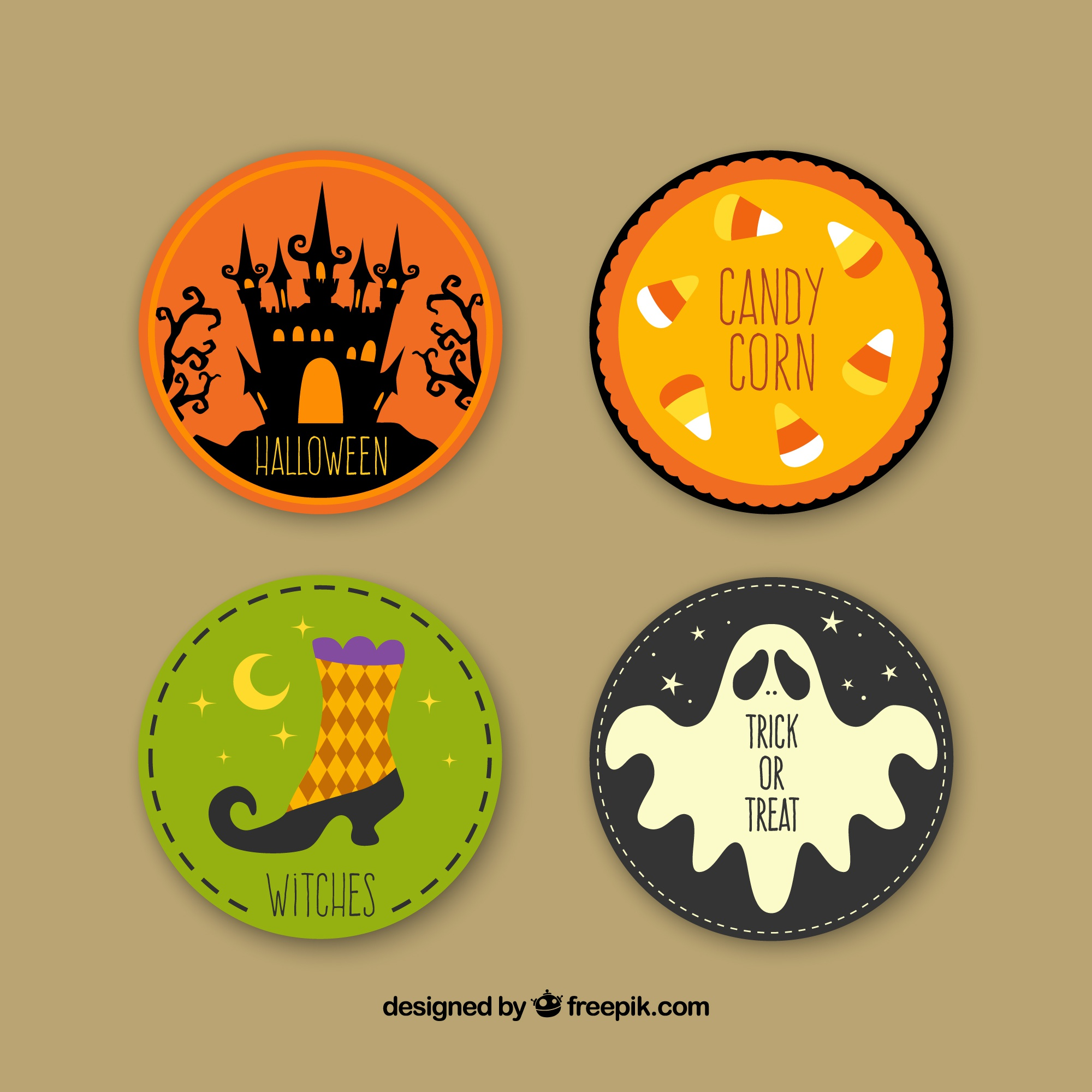 Variety of halloween labels