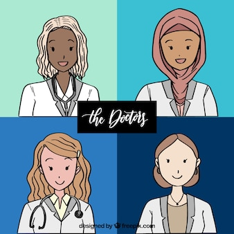 手の様々な手描きの女性医師
