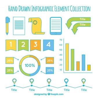 손으로 그린 infographic 요소의 다양 한