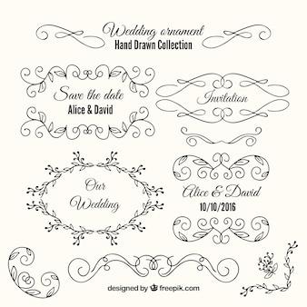 手描きの結婚式の装飾品やフレームの様々な 無料ベクター