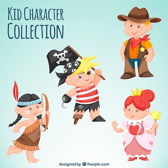Variety of kids wearing costumes