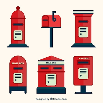 Variety of mailboxes in flat design
