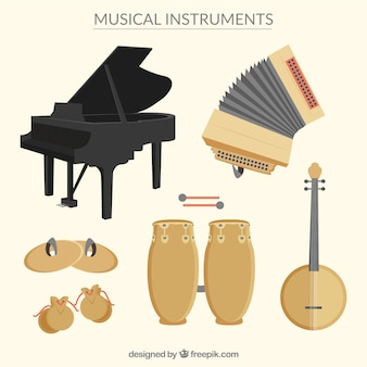 Variety of music instruments