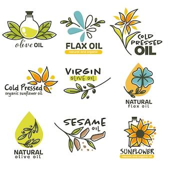 食品加工や健康増進に使用されるさまざまな天然油と有機油 Premiumベクター