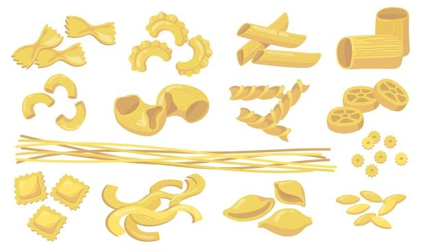 バラエティに富んだパスタセット。生小麦のマカロニ、麺、ペンネ、ラビオリ、白い背景で分離されたスパゲッティ。食材、料理、イタリア料理、食品の概念のベクトル図