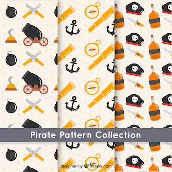 Variety of pirate patterns in flat design