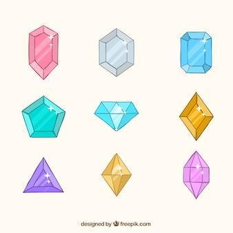Разнообразие драгоценных камней в плоском дизайне